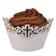 INCR751 - Cup Cake Wrapper: Cross - Ivory